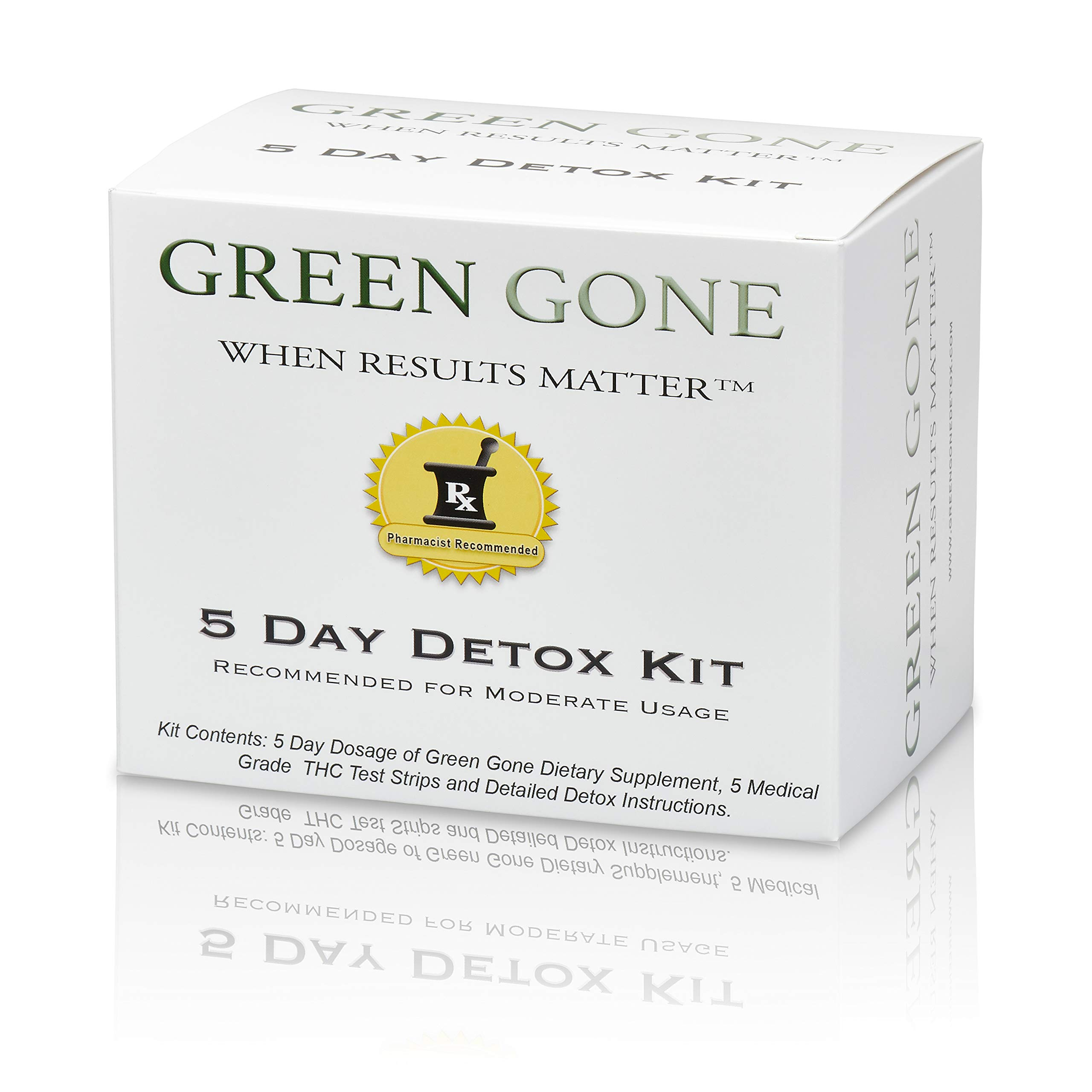 Green Gone 5 Day THC (Marijuana) Detox Kit - Permanent Cleanse, (for Moderate Usage) with 5 THC Test Strips! by Green Gone LLC