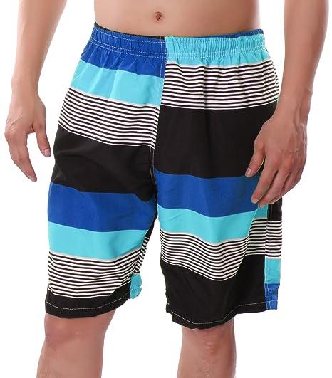 c304ab2fb2b99 Banana Split Men Swim Trunks Board Shorts Beachwear Tropical Vacation Lined  Striped Blue Medium: Amazon.in: Clothing & Accessories