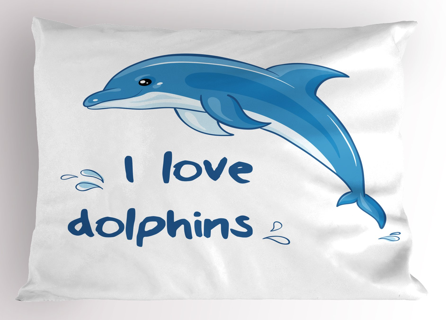 Ambesonne Dolphin Pillow Sham, Cartoon Style Ocean Animal with I Love Dolphins Quote and Water Splashes Image, Decorative Standard Size Printed Pillowcase, 26 X 20 inches, Blue White