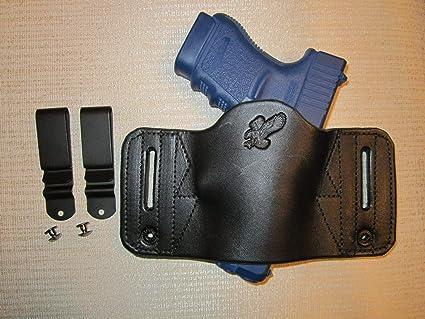 Ambidextrous Universal Leather IWB /& OWB Slide Pistol Holster For Pistols