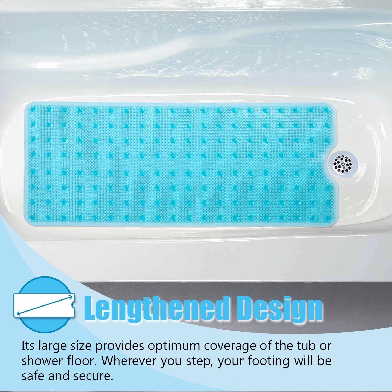 Bleu Transparent MAYSHINE Tapis de Douche antid/érapant en loofah pour Baignoire et Massage r/ésistant /à la moisissure 40x100 cm