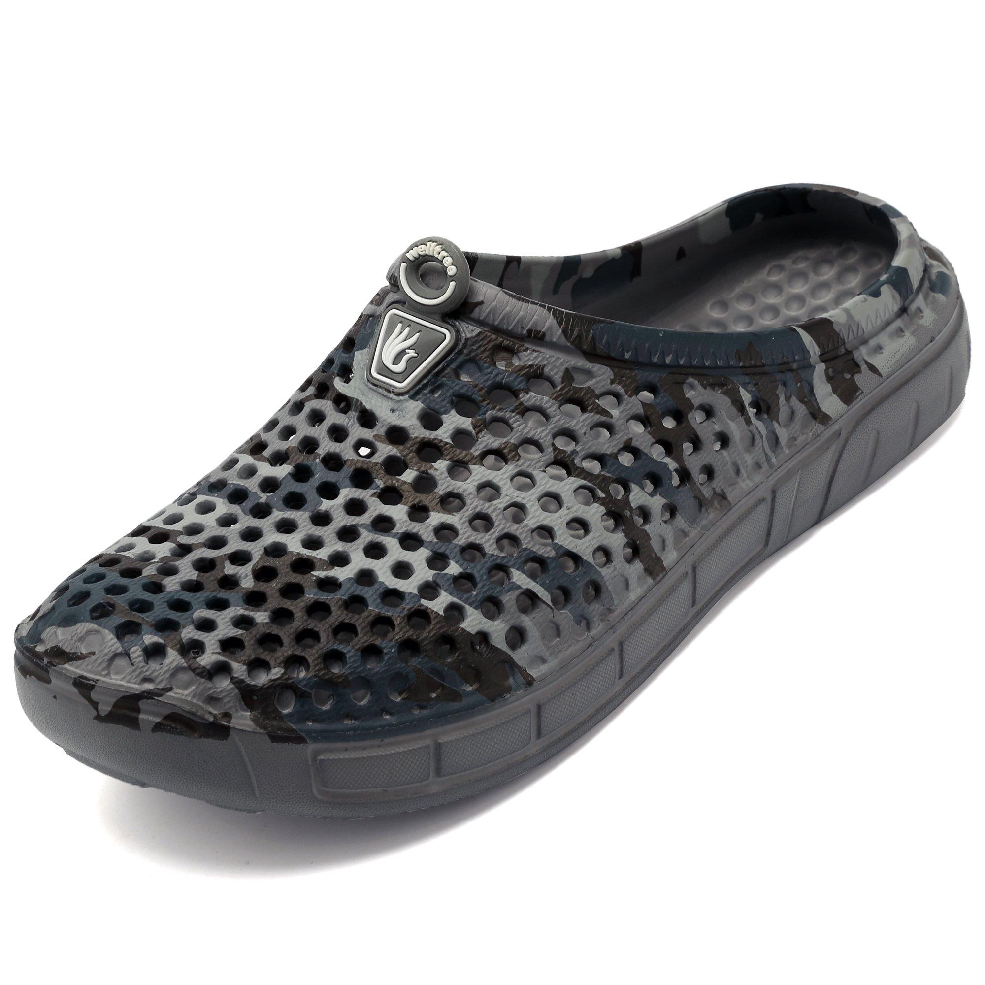 welltree Unisex Women's Men's Garden Clog Shoes Quick Drying Slippers Sandals 11 Men/13 Women CamoGrey/45