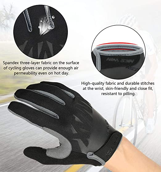 NICEWIN Cycling Gloves Motorcycle Bike Mountain-Padded Road Bicycle Men Women Antiskid Touch Screen Red S