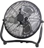 "Cool Works VE-300 X 12"" 3-Speed High Velocity Metal Floor Fan 3, Black"