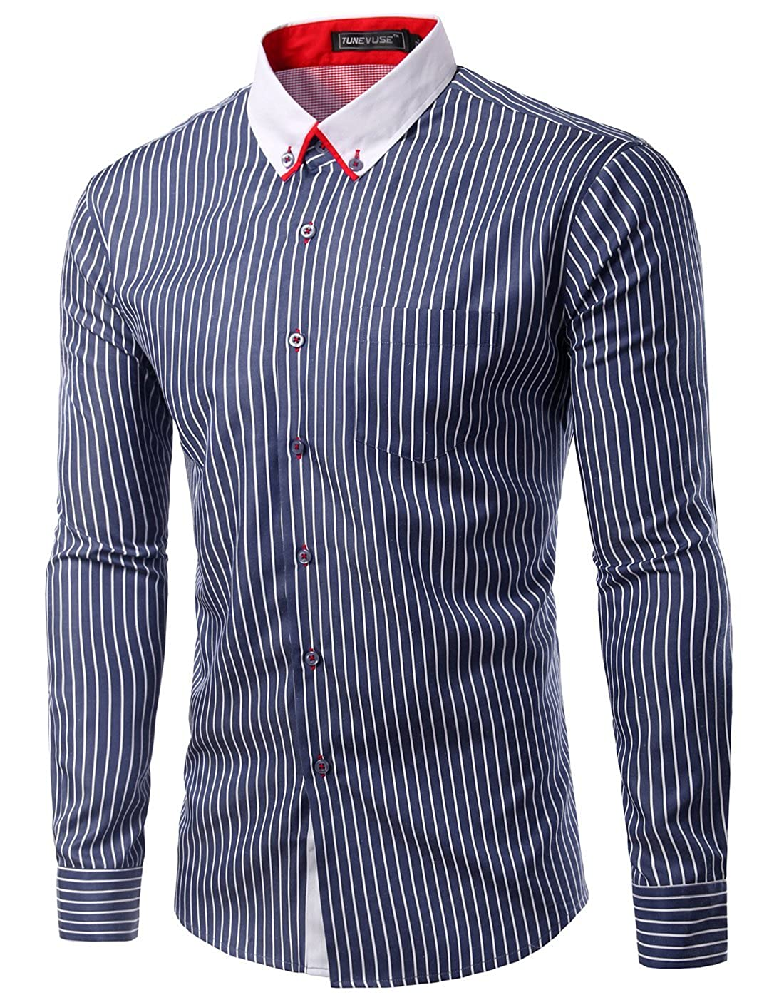 TUNEVUSE Men's Casual Slim Fit Shirts Stripes Long Sleeves Shirt ...
