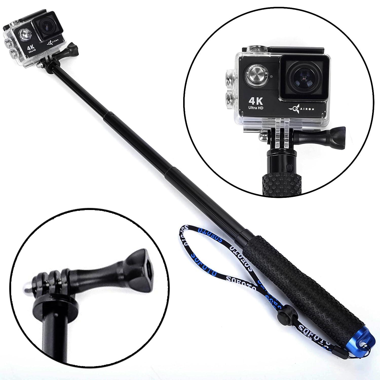 """Premium Waterproof Extendable Hand Held Camera Monopod (19 """") - Best Selfie Stick for Men Women - Gopro Selfie Stick - Extension Gopro Pole Telescopic Monopod - Compatible with GoPro Hero 6 5 4 3+ 3"""