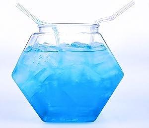 80 fl. Oz. Large Plastic Hexagon Punch Bowl for Drinks, Food Grade BPA-Free, Made in USA, Bulk 20 PCS/Case w/Lids