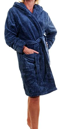 deee5ca795 Ladies Luxury Super Soft 320GSM Long Shawl Collared or Short Hooded Waffle Fleece  Robe Dressing Gown