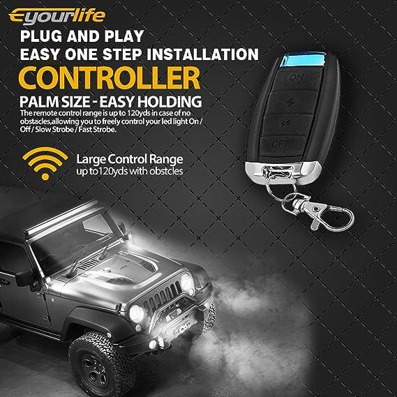 Eyourlife Led Light Bar Kabelbaum Wireless Strobe Kabelsatz On Off Strobe Fernbedienungsschalter Fahrlicht Nebelscheinwerfer Arbeitslicht Auto