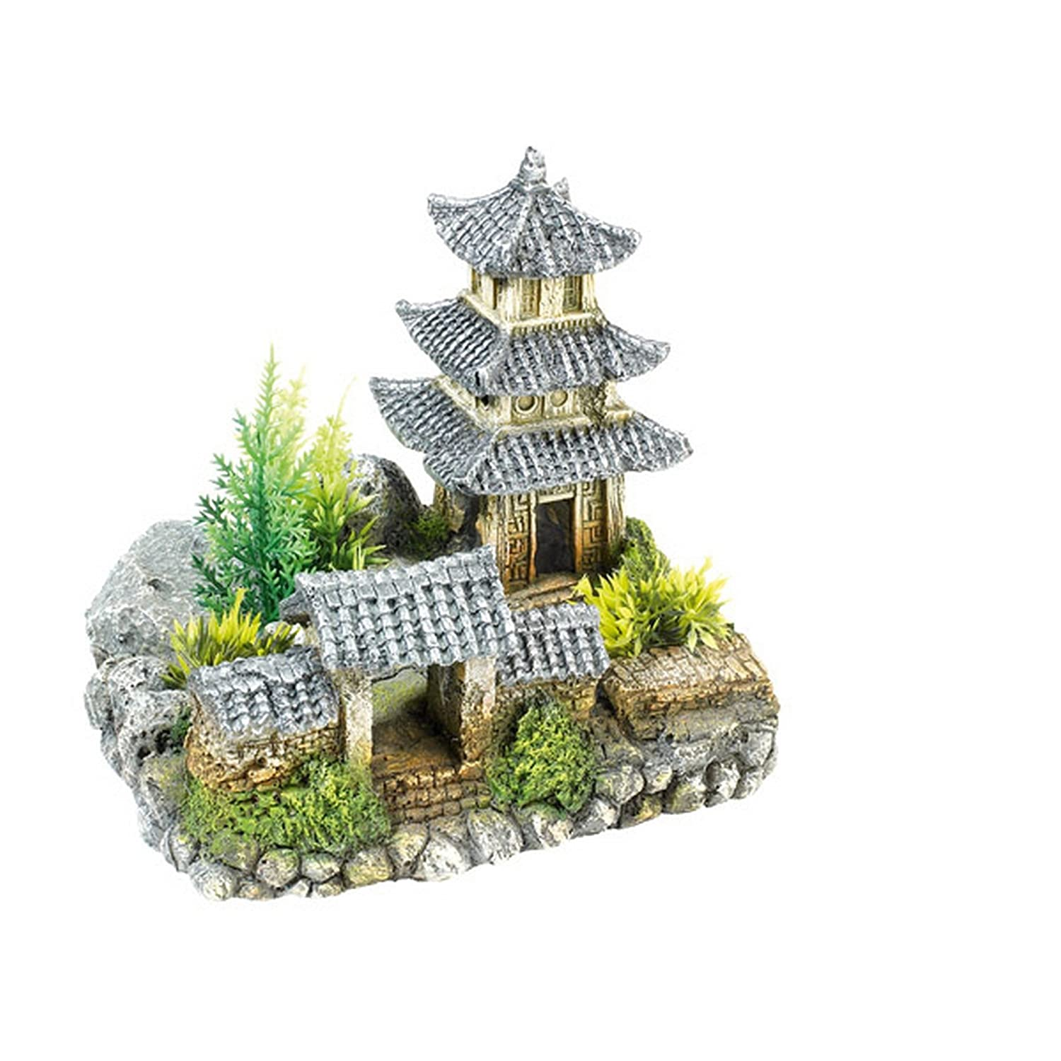Fish aquarium ornaments - Asian Temple Plants Aquarium Ornament Oriental House Fish Cave Decoration