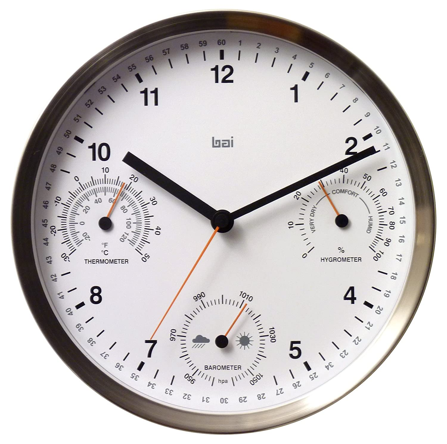 Amazon.com: Bai Brushed Stainless Steel Weather Station Wall Clock ...