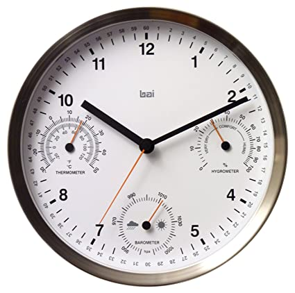 stainless steel kitchen clocks  Amazon.com: Bai Brushed Stainless Steel Weather Station Wall Clock ...