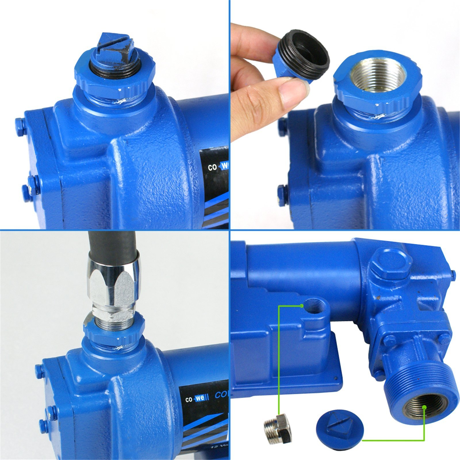 F2C 12 Volt 20GPM Electric Diesel Kerosene Gasoline Fuel Transfer Pump Fillrite Manual Nozzle Hose Kit … Blue by F2C (Image #4)