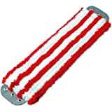Unger MD40R Microfiber Mop Head, 16 x 5, Medium-Duty 7mm Pile, Red/White