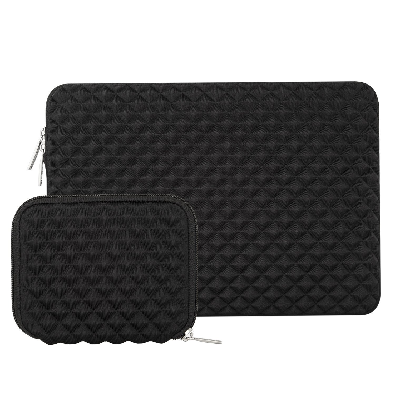 14 Inch ThinkPad Chromebook Diamond Foam Water Repellent Neoprene Bag MOSISO Laptop Sleeve Compatible with 15 Inch MacBook Pro Touch Bar A1990 A1707 2016-2019 with Small Case Black