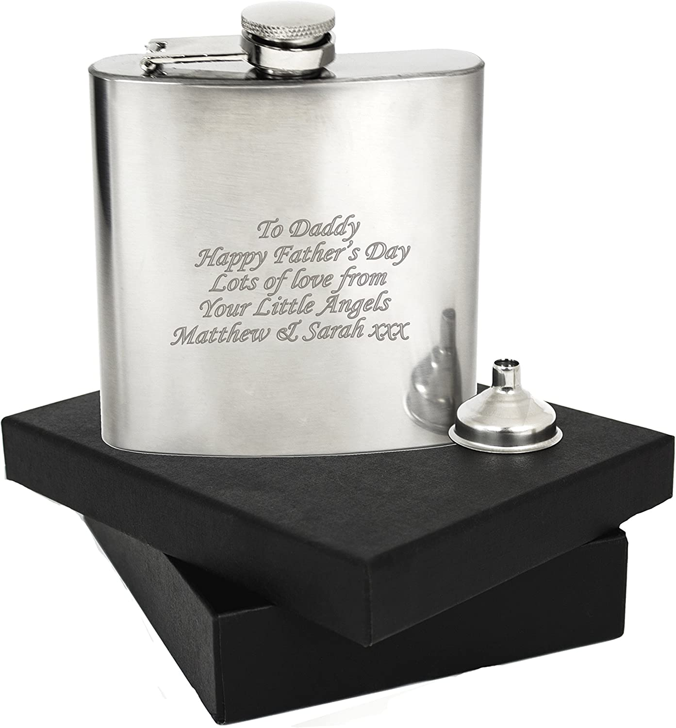 Personalised Hip Flask 6oz Engraved Stainless Steel Gift FREE ENGRAVING
