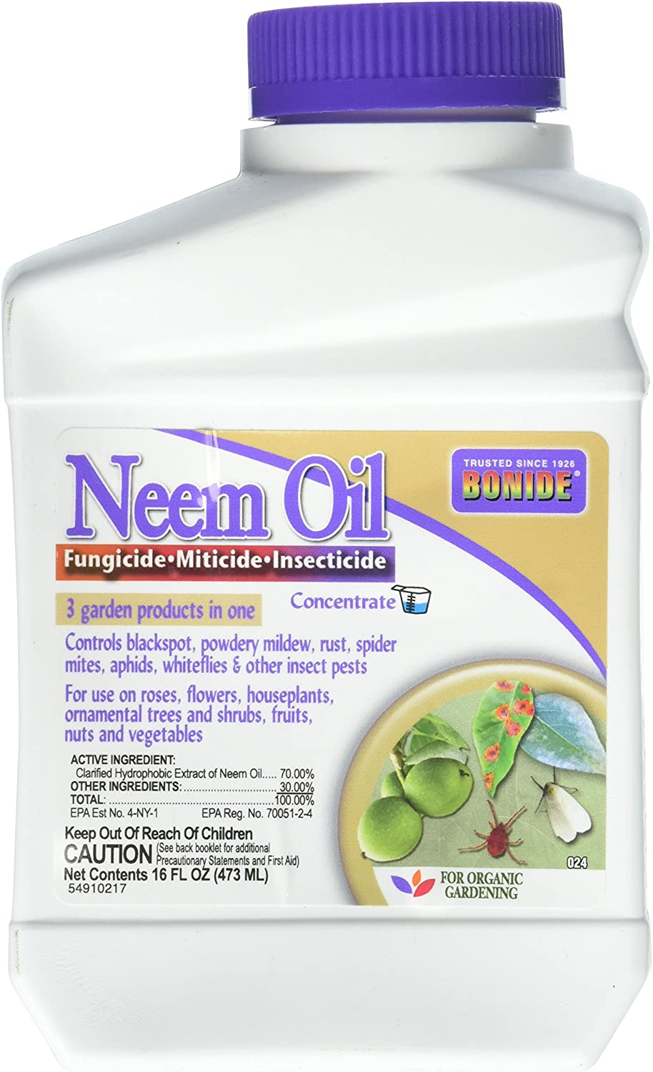 Neem Oil Fungicide Miticide Insecticide Concentrate 16 fl. oz.