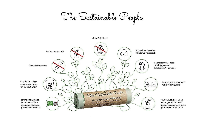 TSP - Bolsas de basura orgánicas (20 L, 70 bolsas de basura ...
