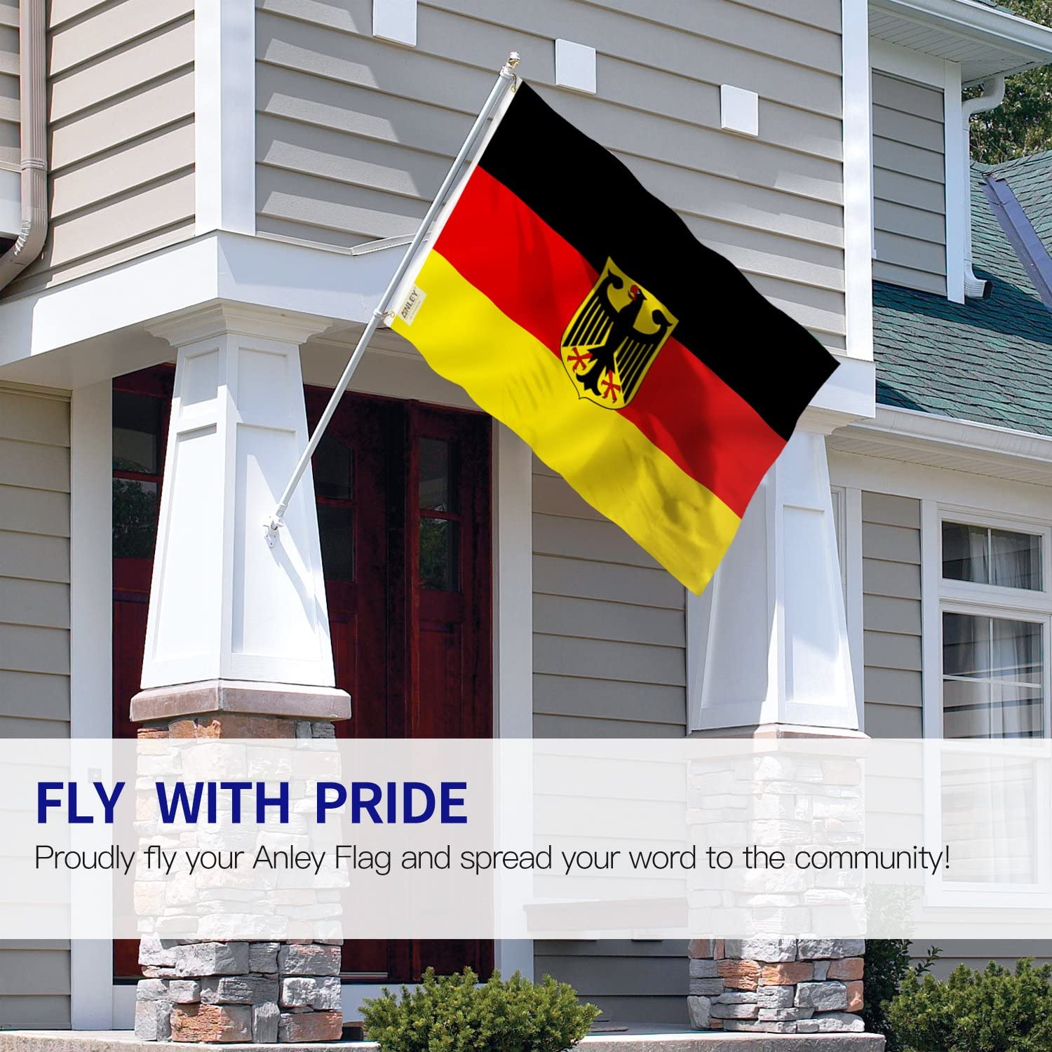 German State Ensign Flag Germany Eagle Flags Polyester with Brass Grommets Anley Fly Breeze 3x5 Foot 90 X 150cm Vivid Color and UV Fade Resistant Canvas Header and Double Stitched