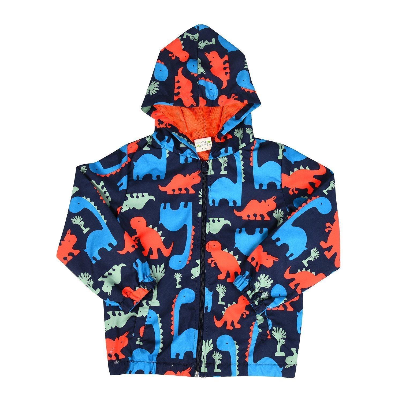 Toddler Boys Dinosaur Printed Jacket Zip Hoodie Mesh Lined Casual Hooded Windbreaker for Kids 2 3 4 5 6 7 T