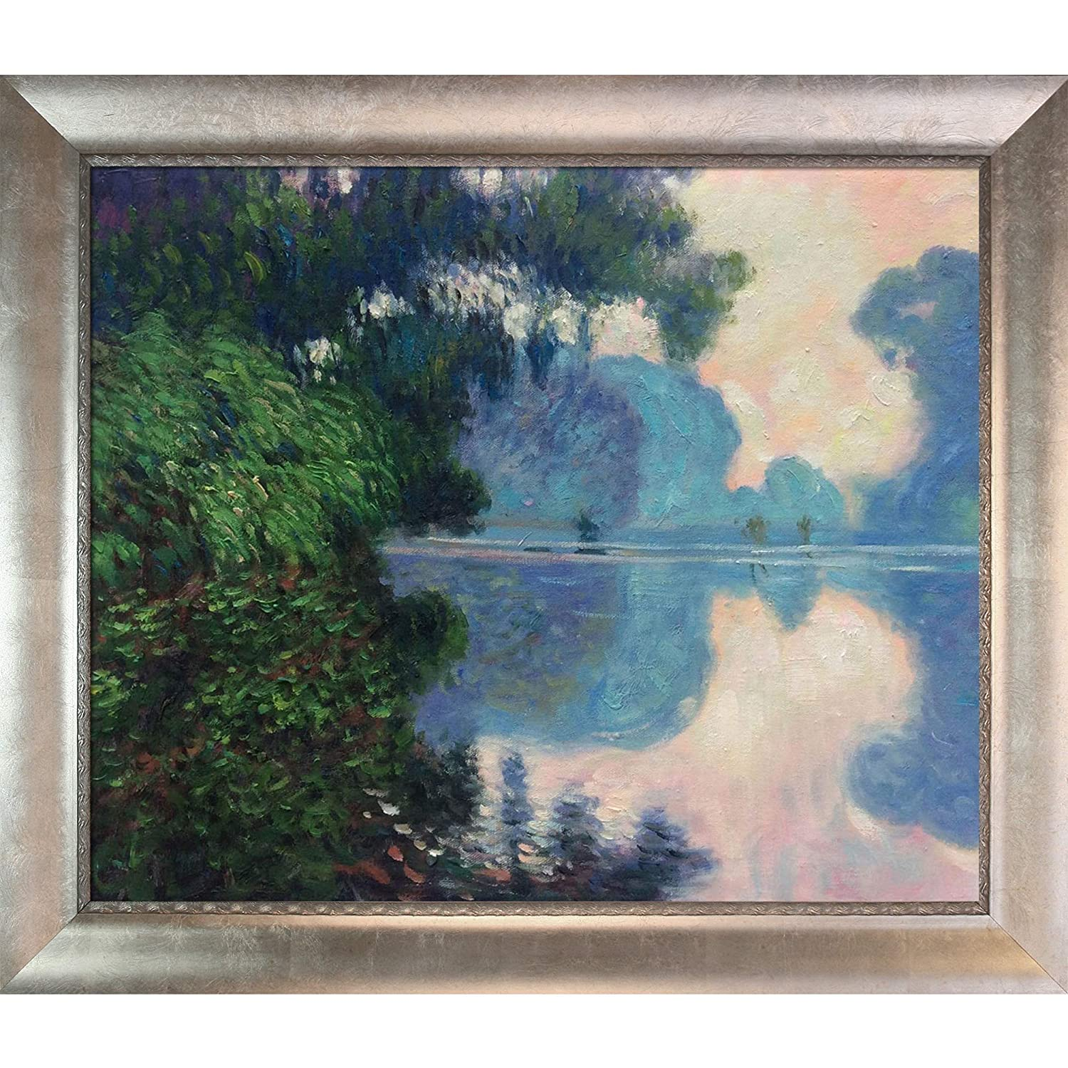 overstockArt MON2482-FR-984920X24 Monet Morning on the Seine near Giverny with Silver Scoop with Swirl Lip Silver Frame with Champagne Highlights