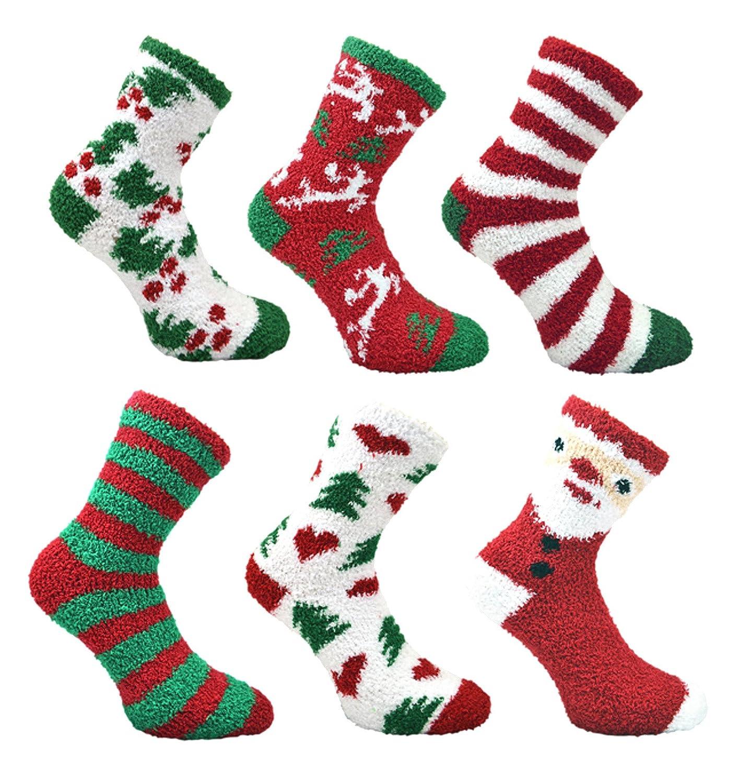 Ladies 6 pack Fluffy Christmas Co-Zees Socks 216CH