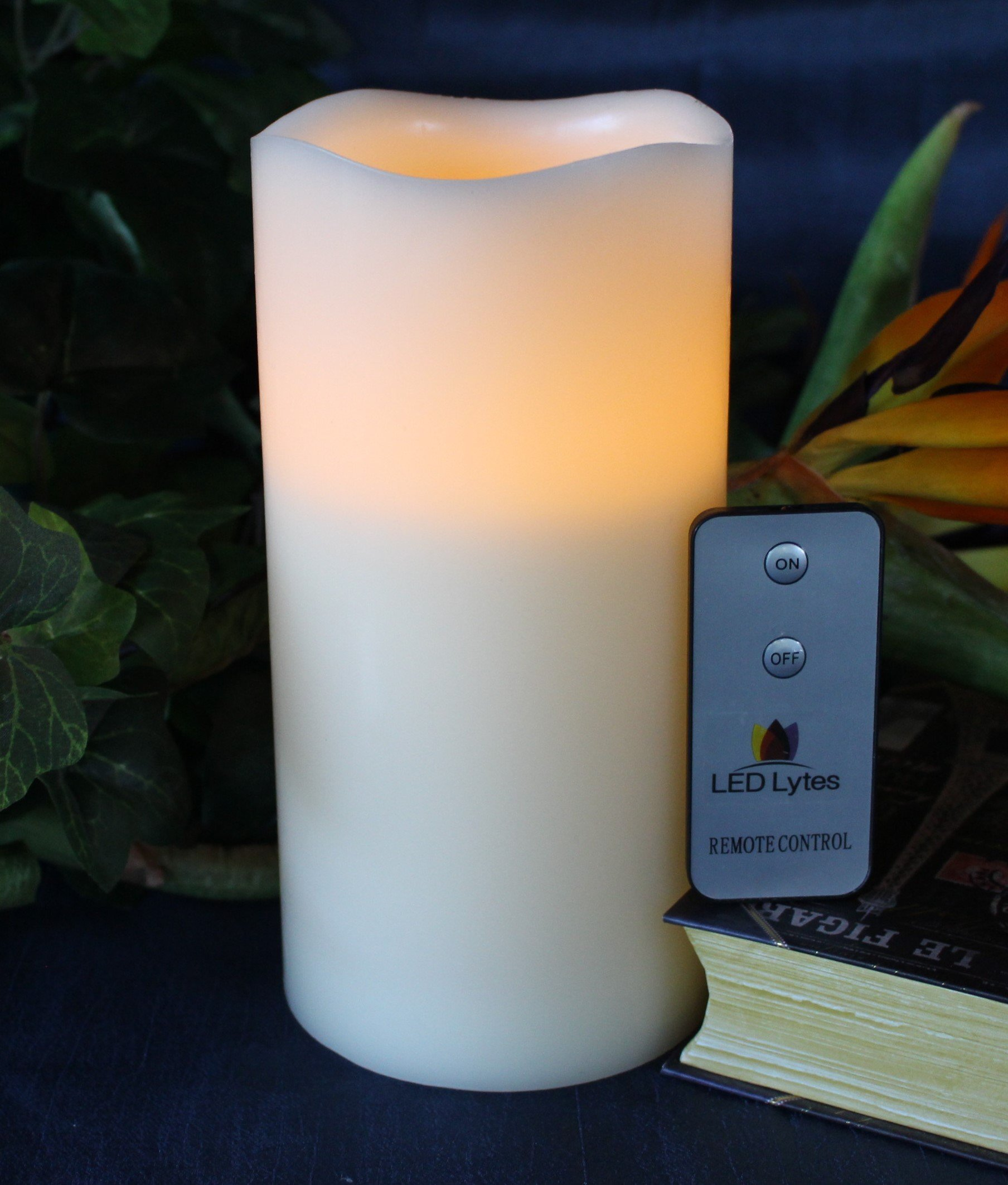 LED Lytes Flameless Candle Flickering - ONE Amber Yellow Pillar Battery Operated with Remote for Parties Weddings and Decorations by LED Lytes (Image #2)