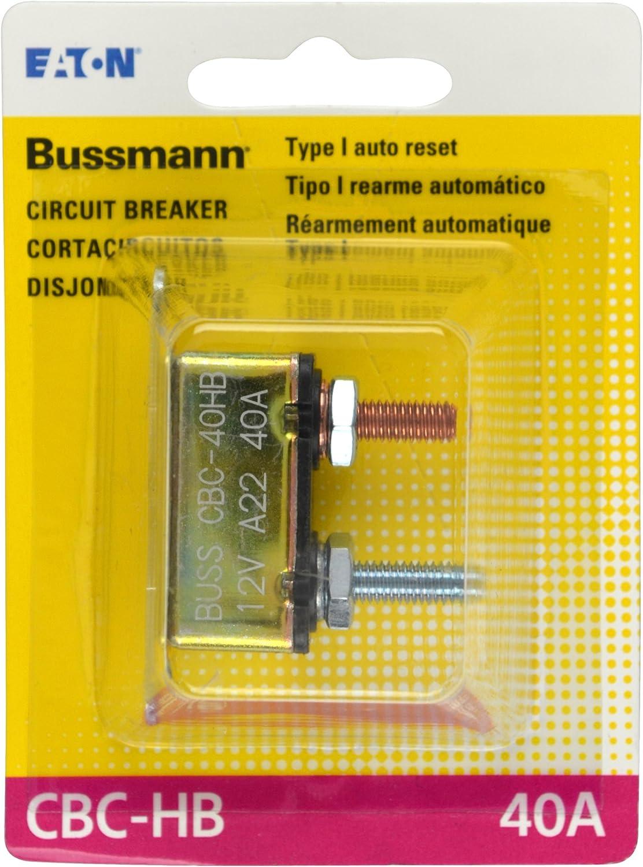 Bussmann 40 Amp Type-I Stud Mount Circuit Breaker with Lengthwise Bracket BP//CBC-40HB-RP
