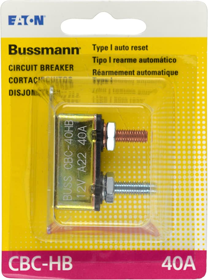 40Amp Bussmann CB123-40B Type III Heavy Duty Automotive Circuit Breaker with Stud Terminals /& Bracket 1 Pack