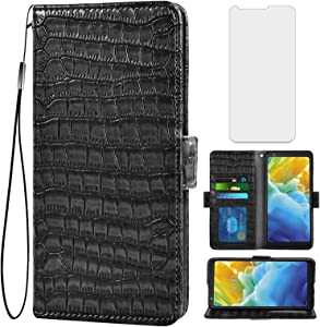 Asuwish Compatible with LG Stylo 4 Wallet Case with Tempered Glass Screen Protector and Leather Flip Cover Card Holder Cell Phone Cases for Stylo4 Plus LGstylo4 Sylo4 4+ Q Stylus Stlo4 Women Men Black