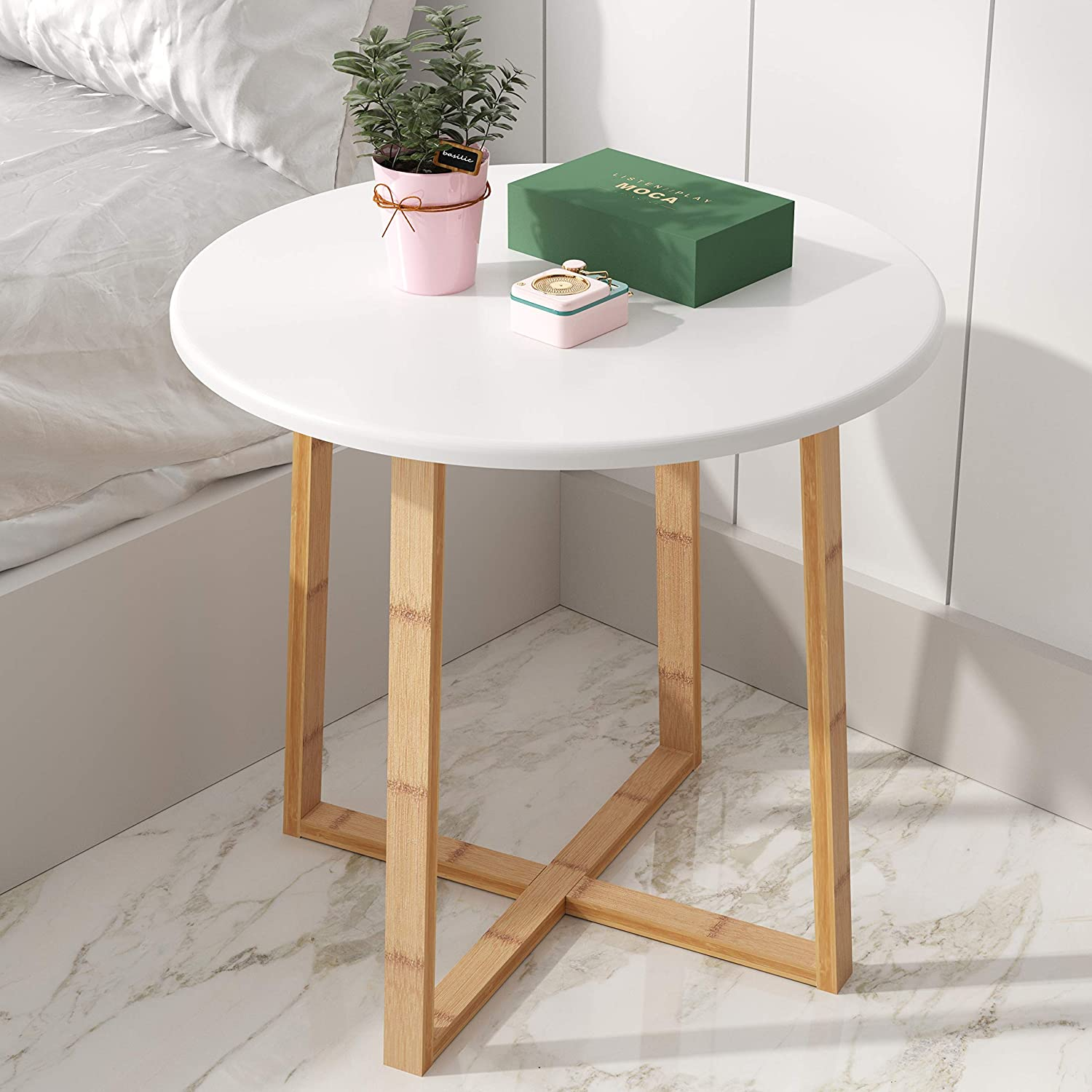 Bameos Side Table Modern Nightstand Round Side End Accent Coffee Table For Living Room Bedroom Balcony Family And Office 19 7inx18 7in Kitchen Dining