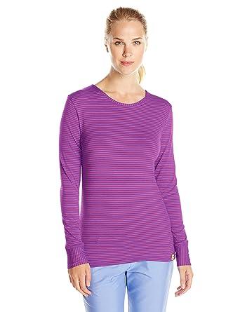 bbe2ad32636 WonderWink Women's Scrubs Silky Long-Sleeve T-Shirt, Electric  Violet/Raspberry,
