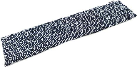Imagen deSaco térmico cervical extralargo de semillas de trigo con funda lavable 63x15cm (Kimono azul)