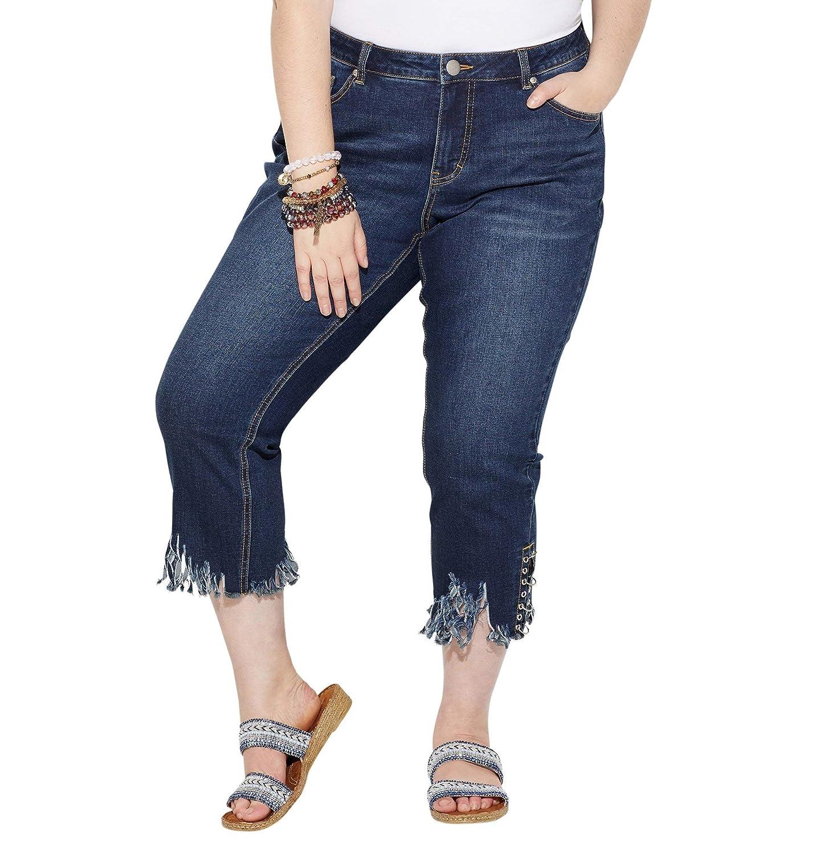 Loralette Womens Fringe Bottom Capri Jean