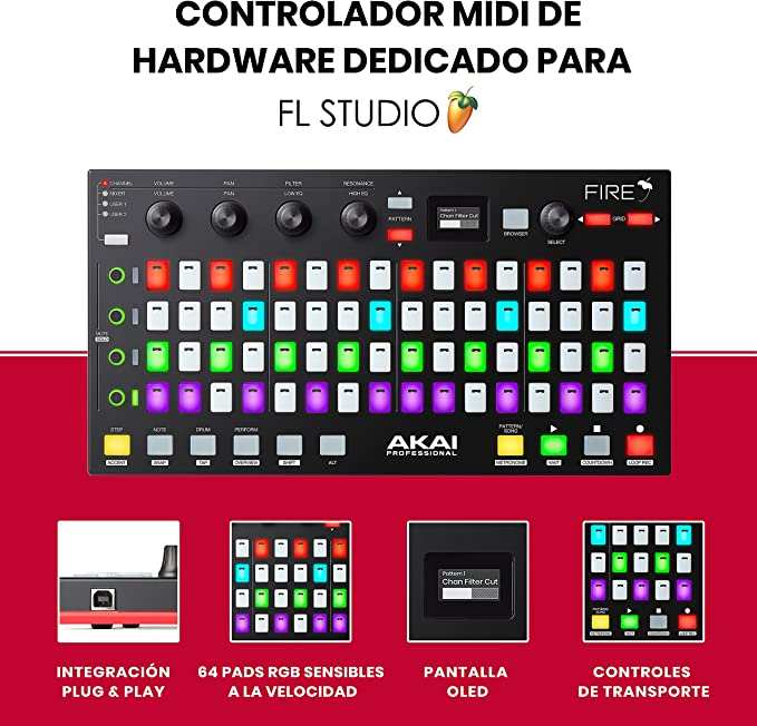 AKAI Professional FIRE – Controlador MIDI para FL Studio con conectividad USB plug and play, matriz de 64 clips y drum pads RGB sensibles a la ...