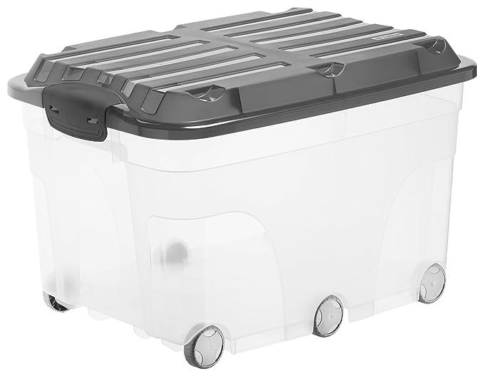 Rotho Roller 6 Aufbewahrungsbox 57 l mit Deckel und Rollen, Kunststoff (PP), transparent/anthrazit, 57 Liter (59,5 x 40 x 37