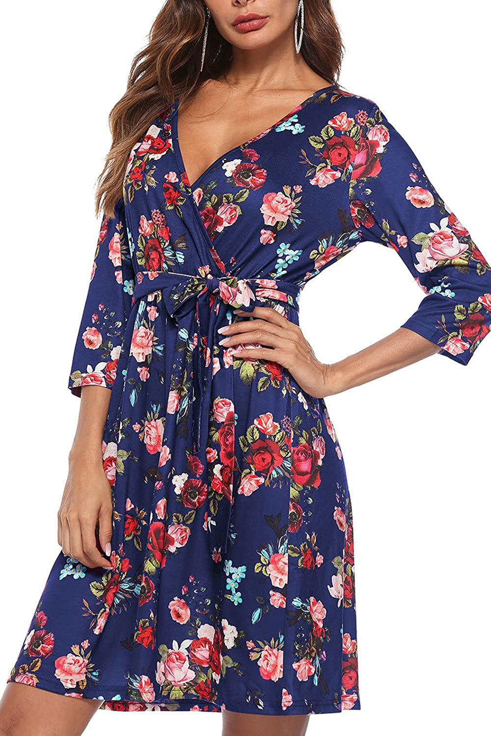 bluee Mulisky Women's Floral Print V Neck 3 4 Sleeves Belted A Line Casual Loose Dress