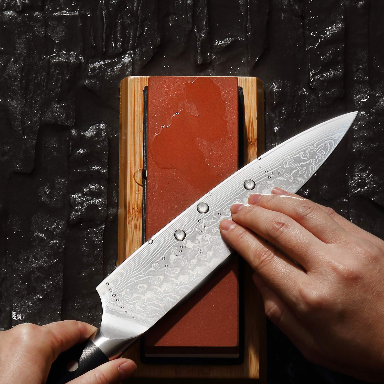 Piedra de afilar Juego de Piedra de afilar con Cuchilla de Grano 1000//6000 Arenillas Dobles 2 en 1 para Cocina carpinter/ía con Base Antideslizante y gu/ía de /ángulo etc. Exteriores