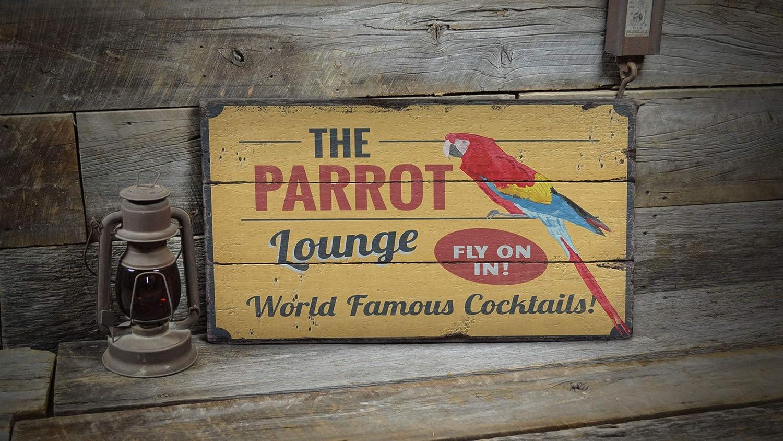 Ced454sy Parrot Lounge, letrero de madera para playa y pájaros, letrero de madera para playa, decoración de ventas de madera, decoración de lodge
