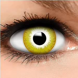 FUNZERA® Lentillas de Colores Avatar + recipiente para lentes de contacto, sin dioptrías pack de 2 unidades - cómodas y perfectas para Halloween, Carnaval, sin corregir