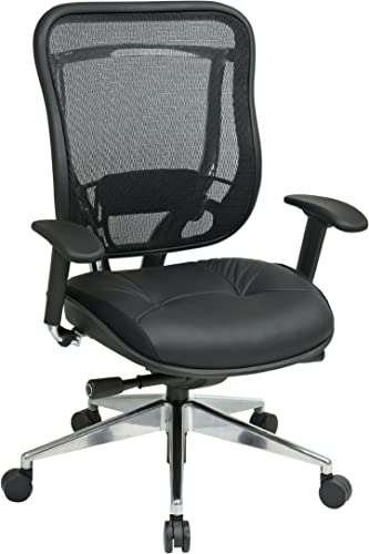 SPACE Seating Breathable Mesh High Back and Padded Black Leather Seat, Ultra 2-to-1 Synchro Tilt Control, Seat Slider and Polished Aluminum Finish Executive Chair