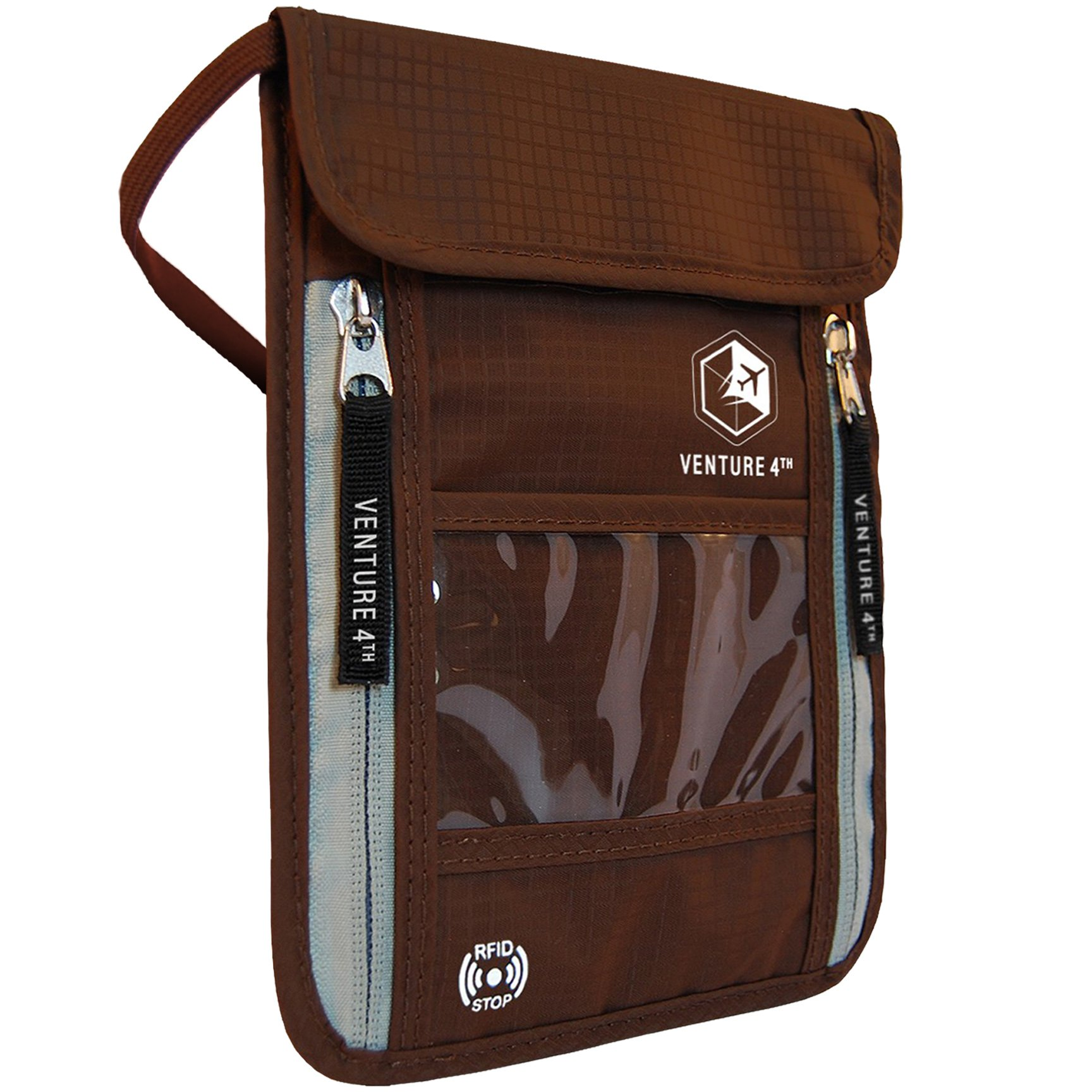Venture 4th Passport Holder Neck Pouch With RFID – Safety Passport Pouch (Brown)