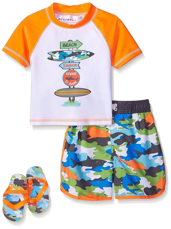 Wippette Boys' Pop Camo with Shark Rash Guard Set Orange 3T WB769017