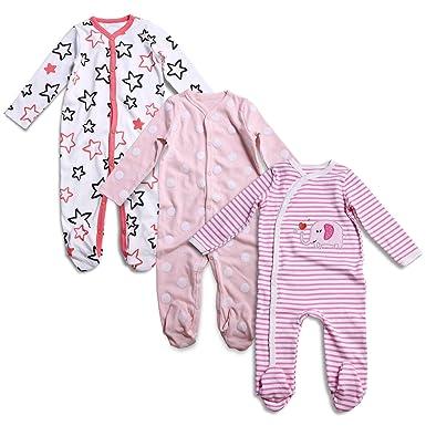 2085caf82 Amazon.com  OPAWO Baby Girl Footed Sleeper Pajamas Long Sleeve ...