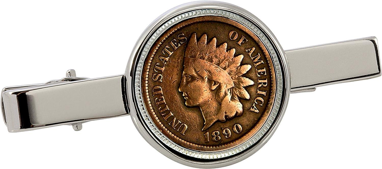 American Coin Treasures 1800's Indian Penny Silvertone Coin Tie Clip