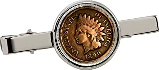 product image for American Coin Treasures 1800's Indian Penny Silvertone Coin Tie Clip