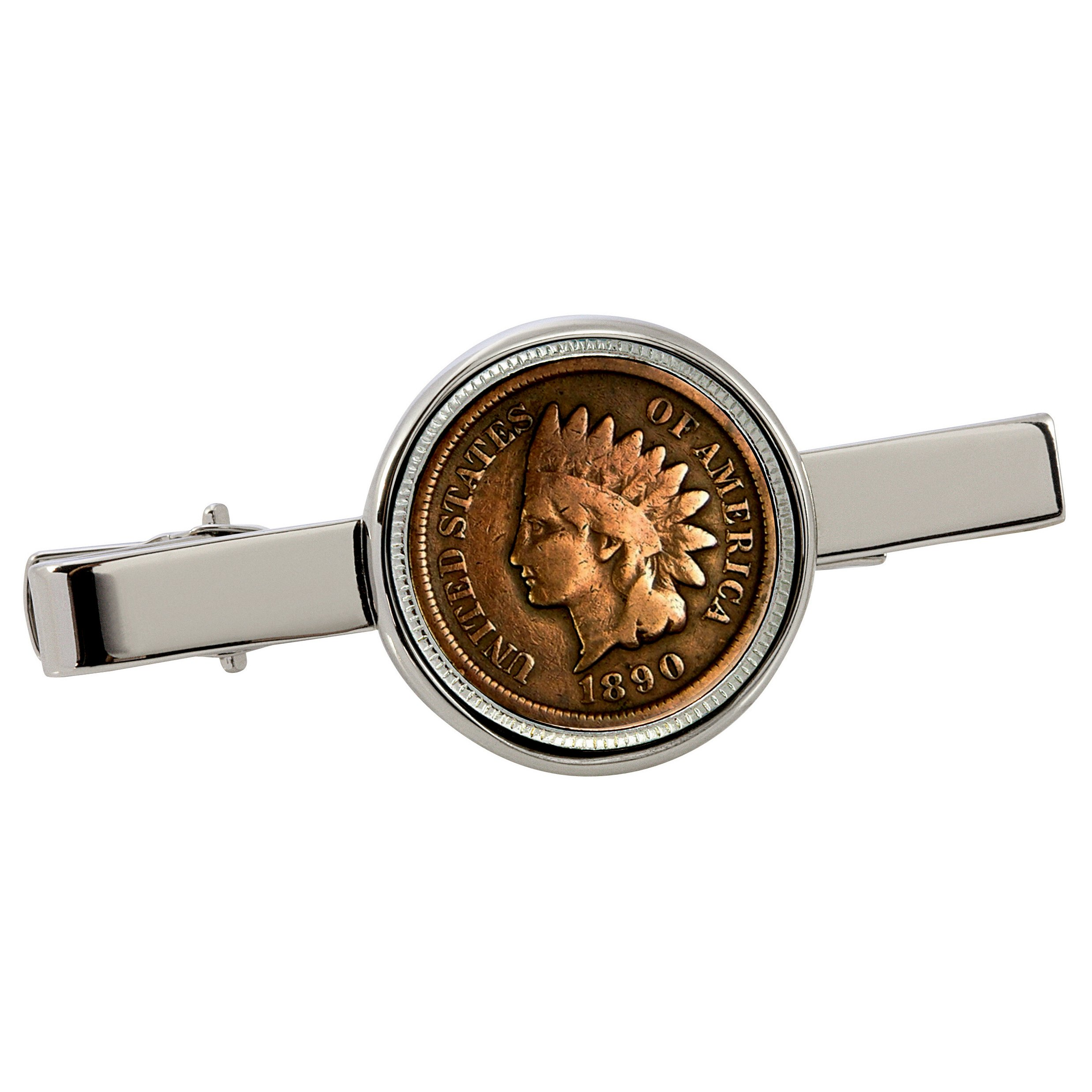 American Coin Treasures 1800's Indian Penny Silvertone Coin Tie Clip by American Coin Treasures (Image #1)