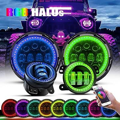 "4XBEAM 7 Inch 75W RGB Halo LED Headlights W/ 4"" Fog Lights Color Changing Halo Ring Waterproof for 1997-2020 Jeep Wrangler JK JKU Rubicon TJ LJ (RGB Halo Headlights+Jeep Fog Light): Automotive"