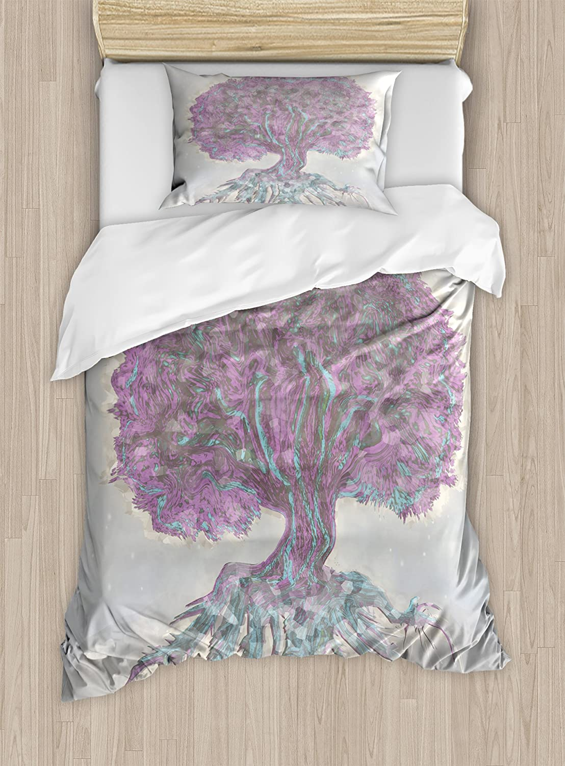 B07559YMP3 Ambesonne Tree of Life Duvet Cover Set, Watercolors Style Print of Old Plant with Bokeh Design Majestic Roots Nature, Decorative 2 Piece Bedding Set with 1 Pillow Sham, Twin Size, Grey Purple 81DecFy0x6L.SL1500_