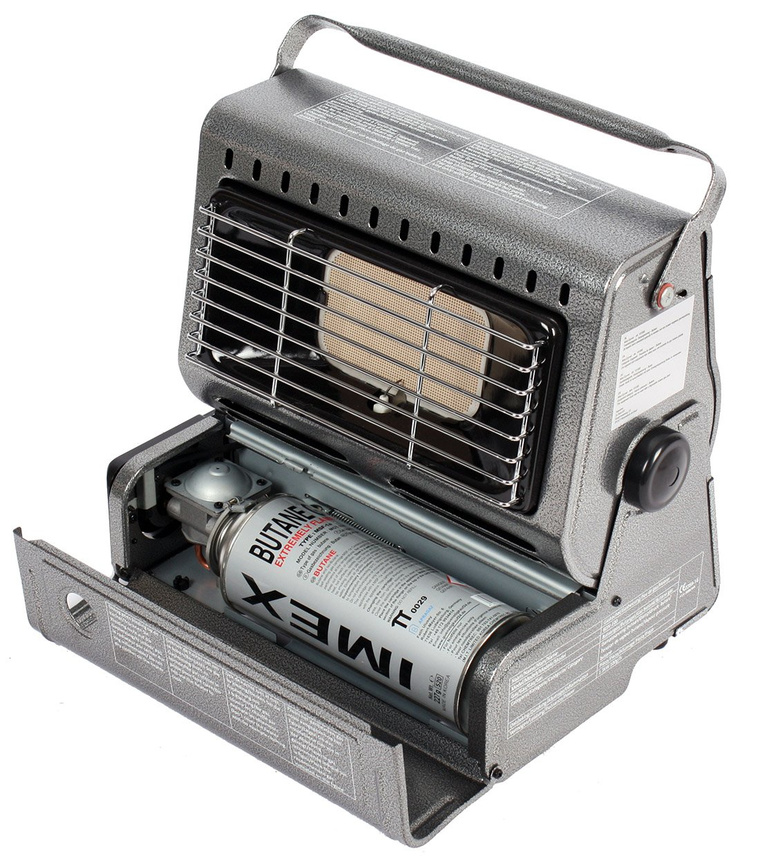 Chauffage de terrasse 1,3kW pour camping - Chauffe-terrasse en acier inoxydable - Radiateur au gaz - Parasol chauffant DeBasis